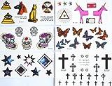 combineshopping última venta caliente moda diseño Wateproof non-toxictemporary tatuaje pegatinas combinación 5pcs/paquete diseños diferentes, incluye diseño de mariposas/estrellas/cuadrado/Calavera/Cruz/caballo/perro/ojos/etc.