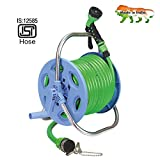 AquaHose Garden Hose Reel - Revolving Type with ISI Marked Green Hose 30mtr (Hose Reel Connector with Tap Adapter, Butterfly Clamp & Bead Chain to Tighten)