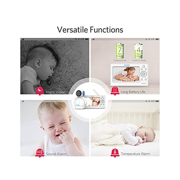 """HOMIEE 720P Wireless Video Baby Monitor with 5"""" HD LCD Digital Screen & Robot Appearance Camera, Two Way Audio, Sound & Temperature Alert, Low Battery Alarm, Night Vision with 1000ft Range (Blue) HOMIEE 【5"""" Large Rechargeable Color LCD Monitor】Equipped with super large 5 inch full color HD LCD screen with 1280 x 720 resolution, HOMIEE baby monitor offers the most vivid visual experience 【Upgraded Unique Robot Appearance Camera】Up to 4 cameras can be hooked up to the monitor for more babies. The robot can be wireless controlled to rotate about 360 degree horizontally, to bow and lie down between 105 degree at most. Additional camera can be purchased at ASIN: B07KGP29GM 【2.4GHz Wireless Connection Technology】No need to connect WIFI, needless of 3G/4G mobile data traffic, the 2.4GHz wireless technology provides 100% digital privacy and security, with range up to 1000ft in open space. Night vision is also supported 6"""