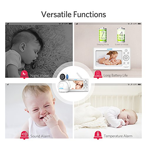 Video Babyphone,HOMIEE Babyphone 360 °Baby Kamera, 5 Zoll LCD Monitor und 300m 2,4G Wireless Verbindung, Wiederaufladbarer Monitor,Ton und Temperaturalarm, Nachtsicht, Wiegenlied und Zweiwege Audio - 6
