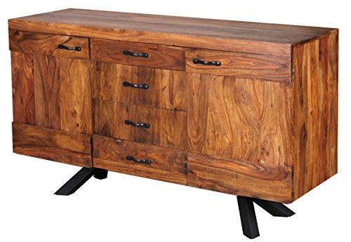 Wohnling WL1.366 Sheesham Massivholz Sideboard 145 x 45 x 82cm, Kommode, 2 Türen und 4 Schubladen - 4