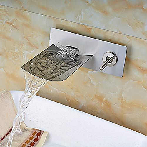The only good quality Langlebig Modernes Badezimmer Wand-Waschbecken Wasserhahn - Wasserfall Nickel gebürstet Wandmontage Zwei-Loch/Einhand Zwei-Loch-Badewanne Wasserhahn praktisch (Badewanne Gebürstet Wasserhahn Nickel Moen)
