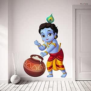 Creatick Studio 'Bal Krishna' Wall Sticker (PVC Vinyl, Multicolor, Size 76 cm X 51 cm)