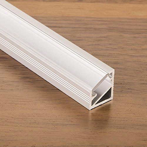 3 Stück SO-TECH® LED Profil-66 Eckprofil Alu eloxiert mit opaler Abdeckung 2000 x 14,5 x 16,5 mm