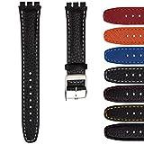 Bracelet de Montre Geckota en Cuir Véritable, Compatible avec les montres Swatch, Qualité et Confort, 17mm