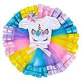 Neonate Primo Tutu di Compleanno con Fascia Set Unicorno per Bimba con Vestito Costume Principessa Cerimonia Carnevale Bambina Toga Fantasia Danza Floreale Fiore Vestiti 001 Arcobaleno 6-12 Mesi