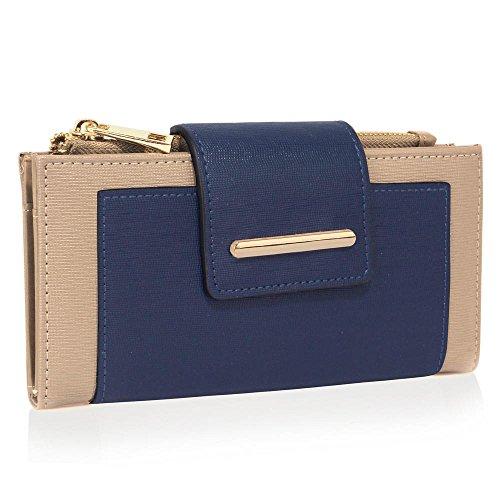 TrendStar Frauen Handtaschen Damen stilvolle Handtasche faux Leder Flap reißen Schliessen Geldbörse Mappen (Nackt/Marine) Nackt/Marine