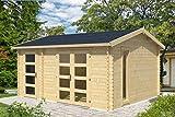 Gartenhaus G99-28 mm Blockbohlenhaus, Grundfläche: 16,40 m², Satteldach