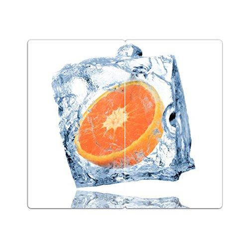 "DEKOGLAS Herdabdeckplatten /""Grapefruit/"" 60x52 Glas Ceranfeld-Abdeckung Herd Set"