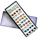 40 Piezas (20 Pares) Set Pendientes Cristal 3mm Estilo Diamante con Estuche Organizador, Cierres de Goma y Recambios por Kurtzy - Colección Pequeños Aretes en Varios Colores - Calidad Premium