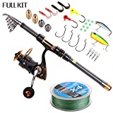 Supertrip TM Spin Spinning Fishing Rod and Reel Combos Full Kit Carbon Telescopic Fishing Rod with Reel Line Lures Hooks and Accessories Fishing Gear Sea Saltwater Freshwater Kit 2.4M 7.9ft Fishing Full Kit