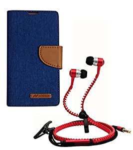 Aart Fancy Wallet Dairy Jeans Flip Case Cover for MotorolaMotoE2 (Blue) + Zipper Earphones/Hands free With Mic *Stylish Design* for all Mobiles- computers & laptops By Aart Store.