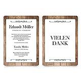 60 x Trauer Dankeskarten Danksagung Danksagungskarten Trauerkarten individuell - Schlichtes Holz