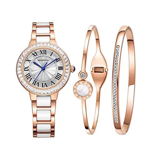 MAMONA Damen Uhr Analog Quarz mit Edelstahl und Rosa/Gold Weiße Keramik Armband Set 68008LRGT