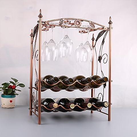 Yifom Creative estante de vino vino colgantes de vidrio dos racks