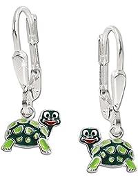 CLEVER SCHMUCK Silberne Ohrhänger 21 mm mit Schildkröte 10 x 8 mm mit lustig lachenden Gesicht, bunt und glänzend STERLING SILBER 925