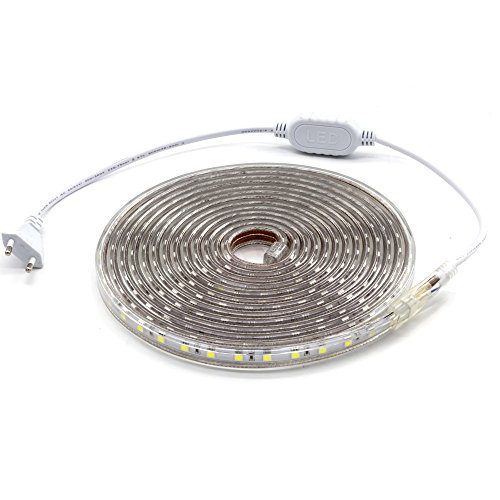 ALOTOA Tiras LED, 5M 60LEDs/M SMD 5050 Blanco frío 6000K, 230V IP68 Tiras de Led Iluminación impermeable para el hogar, Decoración del jardín Iluminación de la tira de la luz