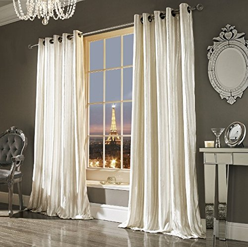 Iliana Kylie Minogue Luxury Velvet Ring Top Curtains Pair – 66×90 (168x229cm) Oyster (Cream)