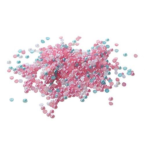 perles demi-rondes en Acrylique Couleur mixte - SODIAL(R)500pcs perles plates demi-rondes en Acrylique pour Nail Art Phone Artisanat Couleur mixte
