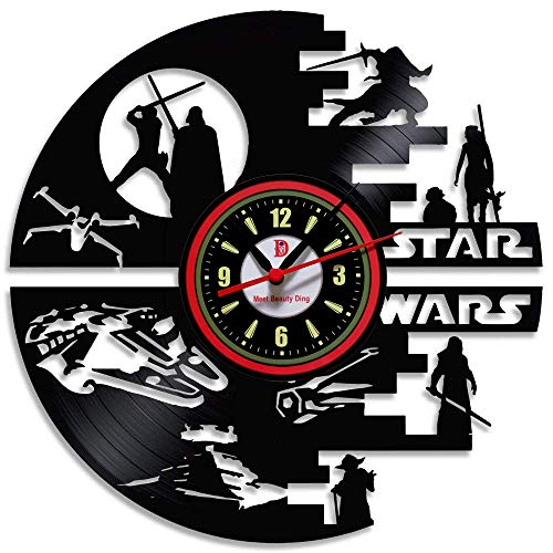Meet Beauty Reloj de Pared de Vinilo con diseño Creativo de Star Wars, Decora tu hogar con un Moderno y Grande Darth Vader, Regalo Hecho a Mano para Hombres y niños