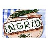 Tischset mit Namen ''Ingrid'' Motiv Schnittlauch - Tischunterlage, Platzset, Platzdeckchen, Platzunterlage, Namenstischset