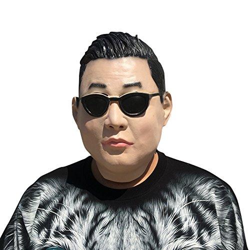 PSY Gangnam Style Maske mask aus sehr hochwertigen Latex Material mit Öffnungen an Augen Halloween Karneval Fasching Kostüm Verkleidung für Erwachsene Männer und Frauen Damen Herren gruselig Grusel Zombie Monster (Psy Kostüme)