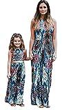 Tomsent Mutter und Tochter Ärmelloses Beiläufig Drucken Familie Kleid Maxikleid Kamisol Rückenfrei Kleidung PartyKleid Blau 120 (Mädchen)