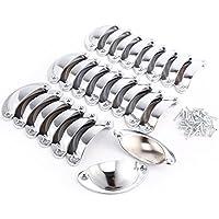 Lote de 24 piezas Pomos Tiradores Manillar en Forma de Concha para Armario Cajón Gabinete Puerta (plateado)