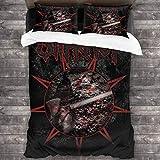 FANCY U Slipknot 3-teiliges Bettwäsche-Set für Queen-86 x 70 cm, Mikrofaser, Schwarz, Einheitsgröße