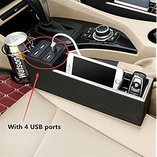 Haosen PU Leder Seitentasche Organizer Auto-Organizer,4 USB-Anschlüsse Aufbewahrungsbox organizer Schlitz Tasche autozubehör für alle Autos - Left-hand Drive (Schwarz)