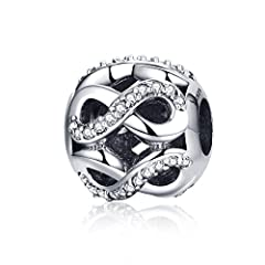 Idea Regalo - Amore infinito in argento Sterling 925Bead charm Pandora, braccialetti europei compatibile