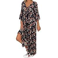 VonVonCo Women Casual Wild Elegant Party Ladies Loose Plus Size Print Long Sleeve V-neck Long Maxi Dress Black XXXXXL
