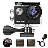 Caméra Sport 4k WiFi Dragon Touch Vision 4 avec Télécommande 2.4G Caméra Sportive avec Microphone Externe Etanche Grand Angle 170°,Caméra de Voiture,2 Batteries 1050mAh Rechargeables Kits d'Accessoire