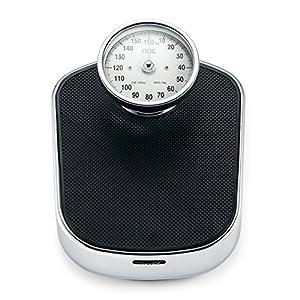 ADE Báscula mecánica de baño Felicitas BM702. Retro. Capacidad 160 kg. Metal robusto y goma antideslizante (Negro-plata)