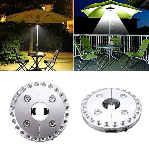 LIANA IRWIN Sonnenschirmbeleuchtung,28 LEDs Schirmleuchte - 3 Modus, Garten Outdoor Sonnenschirm Lampe,Silber