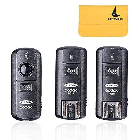 Godox Flash Speedlite Déclencheur FC-16 (1 Emetteur + 2 Récepteur) HSS 1/250s 16 Canaux 2.4GHz Télécommande Sans Fil pour Caméra Appareil Photo Nikon D5000 D4 etc