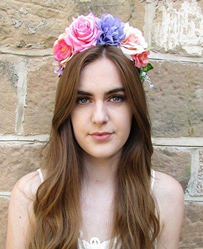 Grand Rose Violet Rose cheveux fleur couronne bandeau Festival VTG Boho Guirlande x-47 * * * * * * * * exclusivement vendu par – Beauté * * * * * * * *