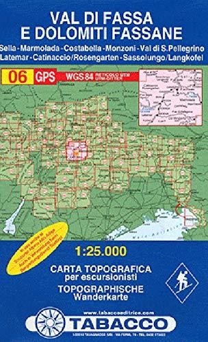 Val di Fassa e Dolomiti Fassane: Wanderkarte Tabacco 06. 1:25000 (Cartes Topograh)