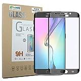 TecHERE GlassShield–Protector de pantalla de cristal templado Premium para Samsung Galaxy S6EDGE PLUS–Alta calidad y HD Crystal Clear–0,2mm Ultra Thin–curvada pantalla completa película protección–9H dureza–a prueba de arañazos, y anti huellas dactilares A prueba de roturas, color negro