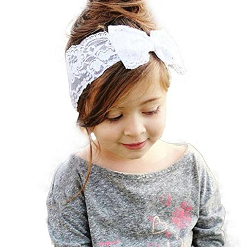 Baby Haar Zubehör Auxma Baby Spitze Big Schleife Haarband Head Wrap Band Zubehör (weiß)