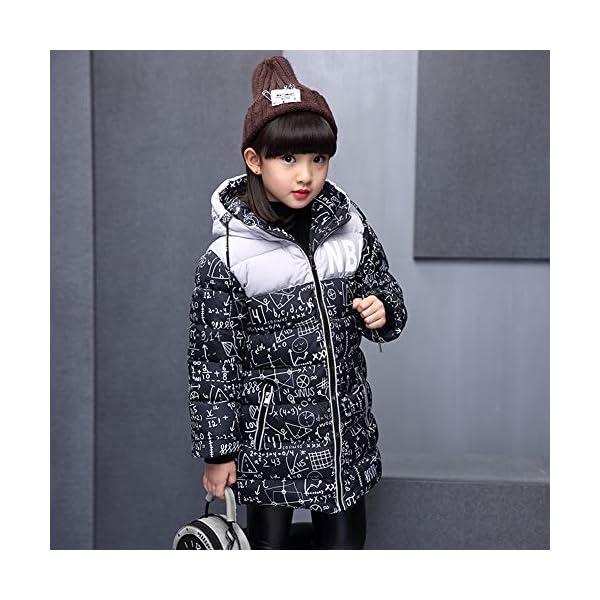 SXSHUN Niñas Abrigo Impermeable para Nieve Anorak Acolchado Padding Chaqueta de Algodón con Capucha Estampado 2