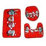 Sockel Teppich + Deckel Toilettendeckel + Badematte Set,Moonuy 3 STÜCKE umweltschutz Weihnachten Bad Rutschfeste Sockel Teppich + Deckel Toilettendeckel + Badematte Set einfach absorbieren wasser (K)