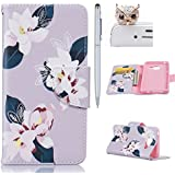 Samsung Galaxy A3 (2016) Coque,Samsung A3 Case -Felfy Flip Style Ultra Slim PU Cuir Couverture Wallet Case Avec Support Fonction Colorful Painting Design Motif Cuir Coque Magnetic Closure PU Étui Portefeuille Cas Housse Etui Samsung Galaxy A3 (2016) (Gris Lis) + 1 x Argent Touch Stylus + 1 x Owl Anti Plug