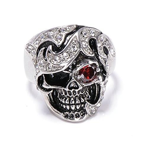 Men's 316L Stainless Steel Red Eye Skull Cz Ring Silver Size V 1/2