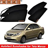 #10: Autofact Magnetic Window Sunshades/Curtains for Tata Manza [Set of 4pc - Front 2pc With Zipper ; Rear 2pc Without Zipper] (Black)