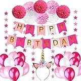 Yidaxing 32pcs Decorazione Festa di Compleanno 1pcs Fascia per Unicorno 1pcs Bandierine di Buon Compleanno + Set di 8 Pompon a Fiore + 2 Festoni con Stelle di 3 m + 20 Palloncini Perlati