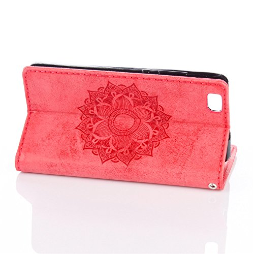 iPhone 5S SE 5 Wallet Case ,SUNWAY Retro embossed Protive Leather Wallet Case[Money Pocket][3 Card Slots] Stand case Cover For iPhone SE 5S 5 4 inch Wallet Case -Red Red