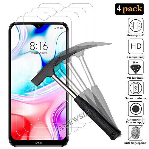 ANEWSIR 4X Vidro Temperado para Xiaomi Redmi8 / 8A, Película Protetora de Tela para Xiaomi Redmi 8 / 8A, Anti-arranhões, sem bolhas, Alta Definição, Protetor de Tela Transparente