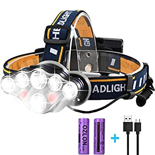 Rechargeable LED Head Torch, HFAN Super Bright 8 Modes 6000 Lumens Adjustable Waterproof 8 LED Head Torches for Camping, Riding, Running,Night Walking, Fishing, Hunting,Reading,Car Repairing,DIY Works