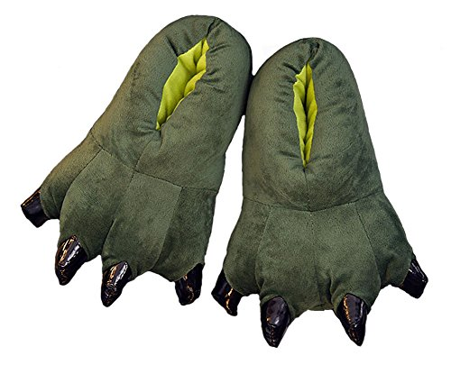 baiou Winter Unisex Coral Fleece Animal Claw Shoes Claw Decor Plush Slippers Dinosaur Claw Shoes